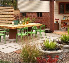 Gartengestaltung Terrasse-immergrüne Pflanzen