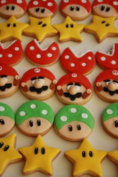 Mario Birthday Cake, Super Mario Birthday, Super Mario Party, Birthday Cookies, 5th Birthday, Birthday Ideas, Super Mario Bros, Mario Bros Cake, Mario Kart Cake