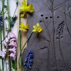 Tactile Studio - Artist and theater prop maker Rachel Dein specializes in preserving the ghost impressions of flowers and objects in quadrants of plaster. She describes her results as 'fossils from everyday life'.