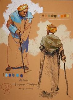 Hommes au turban. 30x40 Logo D'art, Art Logo, Pastel Drawing, Pastel Art, Watercolor Illustration, Watercolor Art, Patrick Martin, Cinderella Fairy Godmother, Colored Pencil Portrait