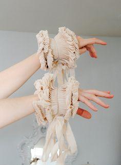 Beige Ruffled cuffs/ Ruffled Fashion/ Victorian Ruffle cuffs/ Beige Wedding/ wrist cuff/ Fabric bracelet/ rusteam tt team teamstyle