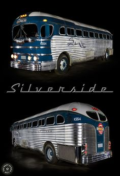 1947 Silverside bus light painted by Ben Willmore. More light paintings at… Classic Trucks, Classic Cars, Retro Bus, Bus Camper, Campers, Bus Coach, Bus Station, Busses, Bus Stop