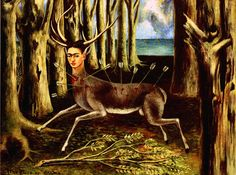1946 Frida Kahlo Le Cerf blessé, The wounded Stag, Huile sur masonite, 22,4x30 cm. #Art #Mexico #deFharo