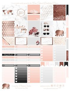 Free Printable Marble & Rose Gold Planner Stickers from Planner Onelove