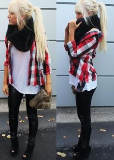 leather leggings + plaid