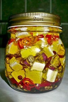 Feta Diabola: This is for the people who like it hot. Spicy Recipes, Sweets Recipes, Greek Recipes, Cheese Recipes, Appetizer Recipes, Sos Food, Homemade Spices, Salad Bar, Canning Jars