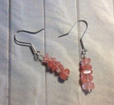 Rose quartz dangle earrings by SparklingVine on Etsy https://www.etsy.com/listing/204636224/rose-quartz-dangle-earrings