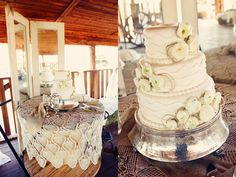 Rustic chic wedding decor. White Wedding cake