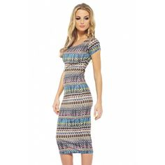 Aztec printed midi dress from AX Paris - Street Outfit, Every Girl, Aztec, Fashion Online, Two Piece Skirt Set, Short Sleeve Dresses, Boutique, Celebrities, Printed