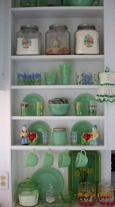 Vintage jadite and floral display, super cute.