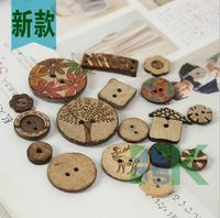 Clothes Accessories DIY Wooden Cartoon Buttons Natural Color Round 4-Holes/ 2-Holes Decorative Sewing Buttons