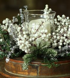 lighted pine frosted branches | iced pine with white berries 20 inch hurricane candle holder iced pine ...