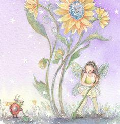 Fairy Garden Art Print Sunflower Sara Girls room by Periwinklesky, $28.99
