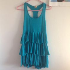 Cute teal mini dress Super cute and comfortable racer back mini dress. Great condition aside from one tiny spot that really isn't noticeable Frenzii Dresses Mini