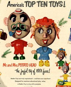 vintage potato head toys 1953 advertisement by FrenchFrouFrou, $14.95