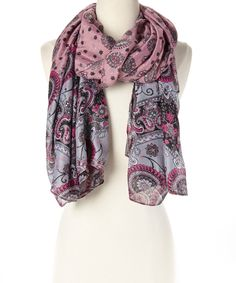 This Karma Kreations Pink & Gray Paisley Scarf by Karmap Kreations is perfect! #zulilyfinds