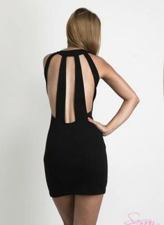 High Neckline Black Selina Dress With Back Cut-Outs,  Dress, cut out dress  little black dress, Chic