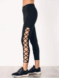 Stretchy Strappy Side Sporty Leggings - BLACK S