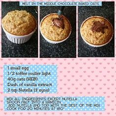 Nutella Baked Oats • 3 syns Baked Oats Slimming World, Slimming World Puddings, Slimming World Cake, Slimming World Desserts, Slimming World Breakfast, Slimming World Recipes Syn Free, Slimming World Syns, Slimming Eats, Slimming World Overnight Oats