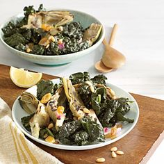 Kale Salad with Grilled Artichokes | CookingLight.com #myplate #vegetables