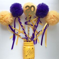 Graduation Centerpiece Purple and Yellow Tulle Pom Pom Wands, Party Favors, DELUXE , 12 pc set Graduation Party Centerpieces, Graduation Theme, Baby Shower Centerpieces, Party Favors, Candle Centerpieces, College Graduation, Party Party, Ideas Party, Wedding Centerpieces