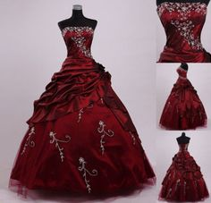 Burgundy-Embroidery-Bead-Long-Prom-Pageant-Dresses-Quinceanera-Dresses-Size