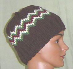 Hand knit beanie hat ski cap brown green by AccessoriesByKelli, $28.00