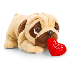 Small Pug Soft Toy with Heart Small Pug, Pugs And Kisses, Cute Pugs, Pug Love, Novelty Gifts, Dog Lover Gifts, Dog Owners, Happy Valentines Day, Valentino