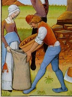 Late 14th century. Working man wearing a pourpoint over an undershirt with rolled sleeves. His blue joined hose are clearly held up by the points on his pourpoint. He also wears a small brimmed hat. Working woman wears patterned chemise or cote under her orange gown. She has pulled up the hem of  her gown, exposing her striped skirt and decorated pouch. She is also wearing small black shoes, a scarf tucked into the neckline of her gown and a wrapped bonnet with stiffened brim.