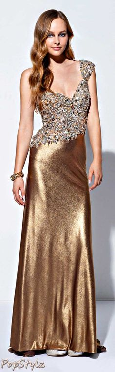 Terani Couture Silky Gold Gown