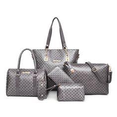 Ladies Embossed Six Piece Fashion Handbag Sets Emboss, Fashion Handbags, Tote Bag, Lady, Totes, Tote Bags, Letterpress