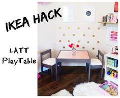 Amara's little table makes me so very happy.  The $20 Ikea Latt table just  begs for a makeover and it's got hacks for days.  This awesome Latt Hacker  had the genius idea of inlaying a lovely design from Paper Source and gave  awesome instructions on how to do it.  I also used the great instruct
