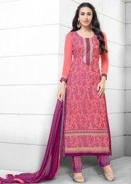 Casual Wear  Georgette Pink Printed Churidar Suit