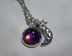 Celestial Dragon's Breath Opal Pendant with Moon by mymysticgems, $30.95