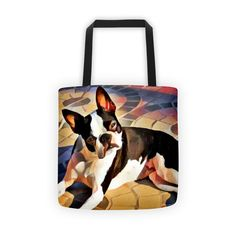 "Boston Terrier Artisan Colorful Tote Bag. Bring your favorite design and breed everywhere you go with this colorful Boston Terrier artisan tote bag!  This design is inspired by a picture of a Boston Terrier laying in the sun while giving the person he or she owns the classic BT ""what's up?"" head tilt!"