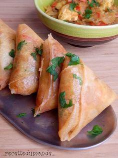 Briouates - Samossa Marocain - Brick farcis poivrons rouge et vert - escaloppe de dinde - et vermicelles chinoise