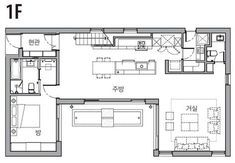 [BY 전원주택라이프] 글 일공이디자인 문선희 소장   사진 김재윤 HOUSE NOTE 대지위치 경기 성남시 ... L Shaped House Plans, Detached House, Home Projects, Layout Design, Floor Plans, Exterior, House Design, Flooring, How To Plan