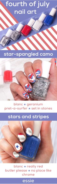 get festive for the fourth with these two red, white & blue mani looks - 'star-spangled camo' using blanc, geranium, pret-a-surfer and set in stones; and 'stars and stripes' using blanc, really red, butler please, and no place like chrome.