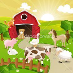 fazenda com animais — Ilustração de Stock #21352977