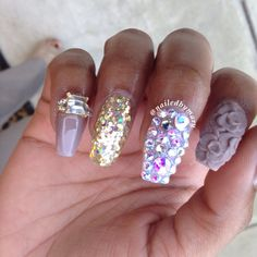 Floral 3d nail art coffin style nails