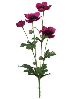 Anemone Artificial Flower Spray in Magenta - 13in. Tall Looking for hot pink artificial wedding flowers? Check out this adorable anemone faux silk flowers spray in hot pink magenta with accent greens. These beautiful magenta anemones are perfect to add bold color to DIY bouquets and centerpieces! #afloral