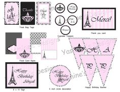 Printable Paris Birthday Party Theme by YasminesDesigns on Etsy, $10.00