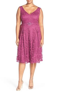 Adrianna Papell Embellished Waist Fit & Flare Dress (Plus Size) at Nordstrom