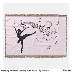 Amazing Ballerina Dancing with Music Pink Throw Blanket