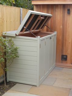 Solid wood, secure bike shed wit lifting lid. Solid wood, secure bike shed wit lifting lid. Outside Bike Storage, Bicycle Storage Shed, Outdoor Bike Storage, Wood Storage Sheds, Backyard Storage, Garden Storage Shed, Bin Storage, Bike Storage Container, Storage Ideas