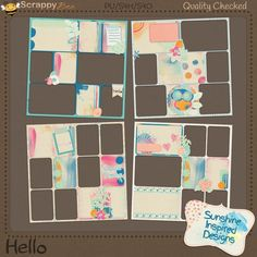 Buy the Hello Collection by Sunshine Inspired Designs and receive the pocket inspired quick pages and traditional quick pages packs for free. This fun, colorful and messy at the same time, digital scrapbooking collection is perfect for all your Springtime and Summertime, or craft layouts. This kit can be used to complement photos of your little ones and you. This Album Pages Pack includes 4 pocket inspired quick pages coordinating with the Hello Collection