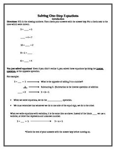 One step equations packet