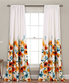 Take a look at this Tangerine Percy Bloom Room-Darkening Curtain Panel - Set of Two today!