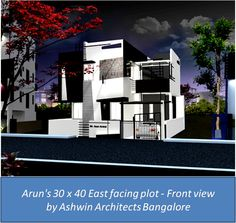 3D Front Elevation view of Arun's House in Bangalore