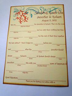 Wedding Guest Book Alternative MadLib Cards  by TheTrendySparrow